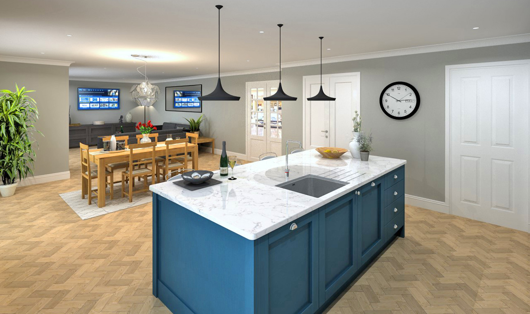 Arden House Kitchen/Dining and Family Room