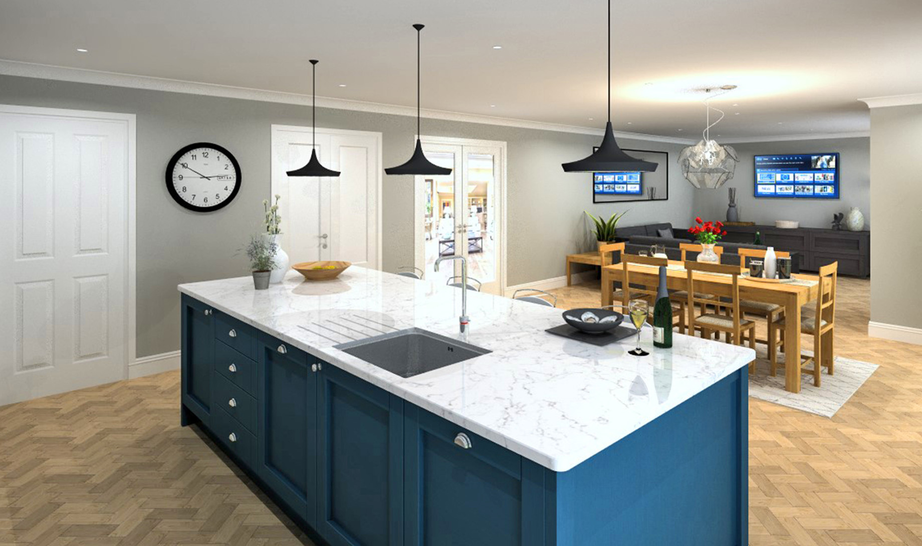 Whinfell House Kitchen/Dining and Family Room